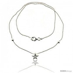 Sterling Silver Necklace / Bracelet with a Star Slide -Style Yn23