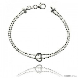 Sterling Silver Lariat Necklace / Bracelet with a Heart