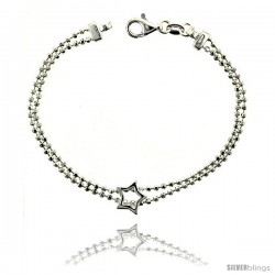 Sterling Silver Lariat Necklace / Bracelet with a Star