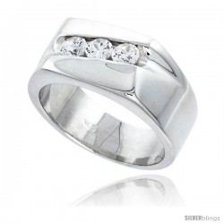 Gent's Perfect Quality Sterling Silver Brilliant Cut Cubic Zirconia Ring -Style Rcz533