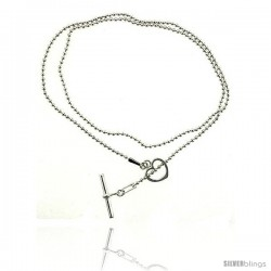 Sterling Silver Necklace / Bracelet with Heart Toggle Clasp Key