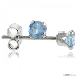 Sterling Silver Brilliant Cut Cubic Zirconia Stud Earrings 3 mm Topaz Blue Color 1/4 cttw