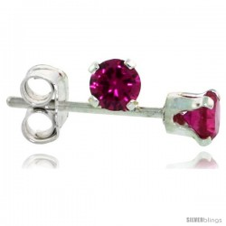 Sterling Silver Brilliant Cut Cubic Zirconia Stud Earrings 3 mm Ruby Red Color 1/4 cttw