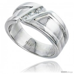 Gent's Perfect Quality Sterling Silver Brilliant Cut Cubic Zirconia Ring -Style Rcz534