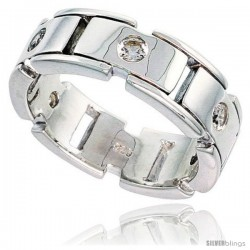Gent's Perfect Quality Sterling Silver Brilliant Cut Cubic Zirconia Ring -Style Rcz535