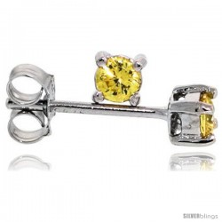 Sterling Silver Brilliant Cut Cubic Zirconia Stud Earrings Citrine Yellow 1/10 cttw Basket Set Rhodium Finish