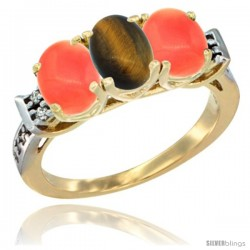 10K Yellow Gold Natural Tiger Eye & Coral Sides Ring 3-Stone Oval 7x5 mm Diamond Accent