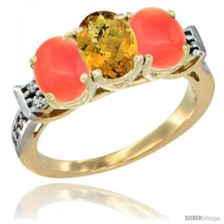 10K Yellow Gold Natural Whisky Quartz & Coral Sides Ring 3-Stone Oval 7x5 mm Diamond Accent