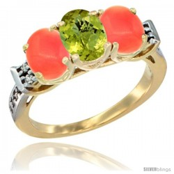 10K Yellow Gold Natural Lemon Quartz & Coral Sides Ring 3-Stone Oval 7x5 mm Diamond Accent