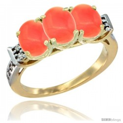 10K Yellow Gold Natural Coral Ring 3-Stone Oval 7x5 mm Diamond Accent