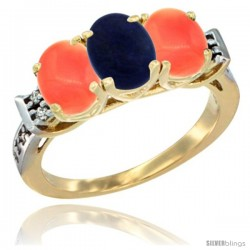 10K Yellow Gold Natural Lapis & Coral Sides Ring 3-Stone Oval 7x5 mm Diamond Accent