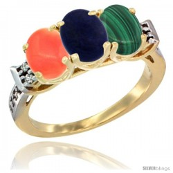 10K Yellow Gold Natural Coral, Lapis & Malachite Ring 3-Stone Oval 7x5 mm Diamond Accent