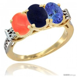 10K Yellow Gold Natural Coral, Lapis & Tanzanite Ring 3-Stone Oval 7x5 mm Diamond Accent