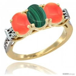 10K Yellow Gold Natural Malachite & Coral Sides Ring 3-Stone Oval 7x5 mm Diamond Accent