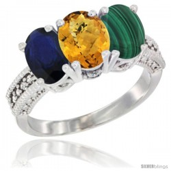 14K White Gold Natural Blue Sapphire, Whisky Quartz & Malachite Ring 3-Stone 7x5 mm Oval Diamond Accent