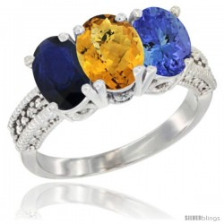 14K White Gold Natural Blue Sapphire, Whisky Quartz & Tanzanite Ring 3-Stone 7x5 mm Oval Diamond Accent