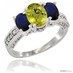 14k White Gold Ladies Oval Natural Lemon Quartz 3-Stone Ring with Blue Sapphire Sides Diamond Accent