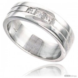 Gent's Perfect Quality Sterling Silver Brilliant Cut Cubic Zirconia Ring -Style Rcz537