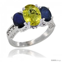14K White Gold Ladies 3-Stone Oval Natural Lemon Quartz Ring with Blue Sapphire Sides Diamond Accent
