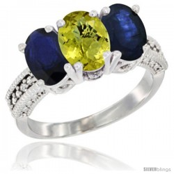 14K White Gold Natural Lemon Quartz & Blue Sapphire Sides Ring 3-Stone 7x5 mm Oval Diamond Accent