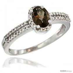 10K White Gold Natural Smoky Topaz Ring Oval 6x4 Stone Diamond Accent