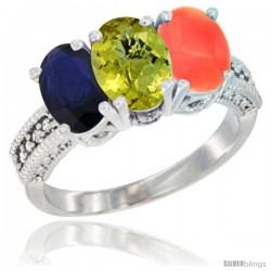 14K White Gold Natural Blue Sapphire, Lemon Quartz & Coral Ring 3-Stone 7x5 mm Oval Diamond Accent