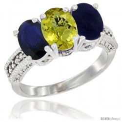 14K White Gold Natural Blue Sapphire, Lemon Quartz & Lapis Ring 3-Stone 7x5 mm Oval Diamond Accent
