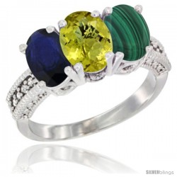 14K White Gold Natural Blue Sapphire, Lemon Quartz & Malachite Ring 3-Stone 7x5 mm Oval Diamond Accent