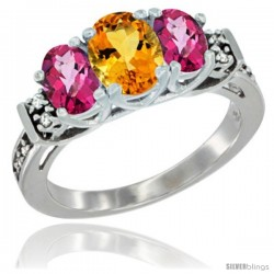 14K White Gold Natural Citrine & Pink Topaz Ring 3-Stone Oval with Diamond Accent