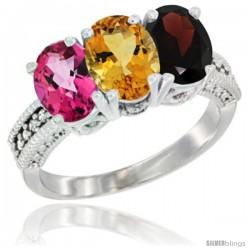 14K White Gold Natural Pink Topaz, Citrine & Garnet Ring 3-Stone 7x5 mm Oval Diamond Accent
