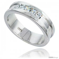 Gent's Perfect Quality Sterling Silver Brilliant Cut Cubic Zirconia Ring -Style Rcz538