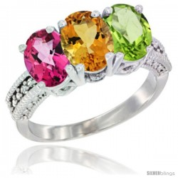 14K White Gold Natural Pink Topaz, Citrine & Peridot Ring 3-Stone 7x5 mm Oval Diamond Accent