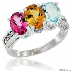14K White Gold Natural Pink Topaz, Citrine & Aquamarine Ring 3-Stone 7x5 mm Oval Diamond Accent
