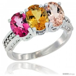 14K White Gold Natural Pink Topaz, Citrine & Morganite Ring 3-Stone 7x5 mm Oval Diamond Accent
