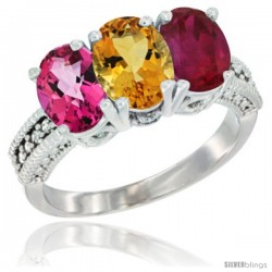 14K White Gold Natural Pink Topaz, Citrine & Ruby Ring 3-Stone 7x5 mm Oval Diamond Accent