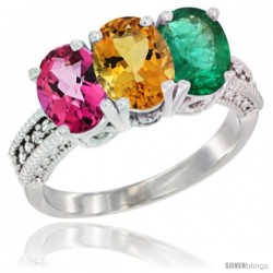14K White Gold Natural Pink Topaz, Citrine & Emerald Ring 3-Stone 7x5 mm Oval Diamond Accent