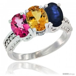 14K White Gold Natural Pink Topaz, Citrine & Blue Sapphire Ring 3-Stone 7x5 mm Oval Diamond Accent
