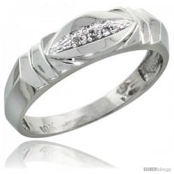 10k White Gold Men's Diamond Wedding Band, 1/4 in wide -Style Ljw121mb