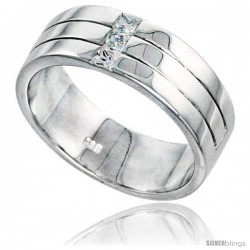 Gent's Perfect Quality Sterling Silver Brilliant Cut Cubic Zirconia Ring -Style Rcz539