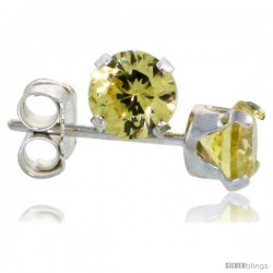 Sterling Silver Brilliant Cut Cubic Zirconia Stud Earrings 4 mm Citrine Yellow Color 1/2 cttw
