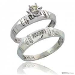 10k White Gold Ladies' 2-Piece Diamond Engagement Wedding Ring Set, 5/32 in wide -Style Ljw122e2