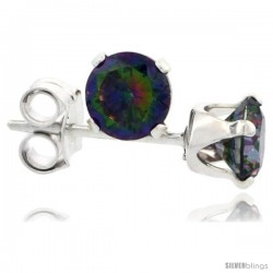 Sterling Silver Brilliant Cut Cubic Zirconia Stud Earrings Mystic Topaz 1/4 cttw