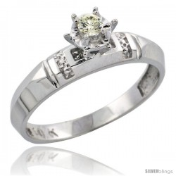 10k White Gold Diamond Engagement Ring, 5/32 in wide -Style Ljw122er