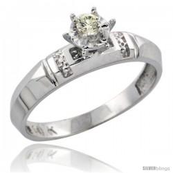 10k White Gold Diamond Engagement Ring, 5/32 in wide -Style Ljw122er