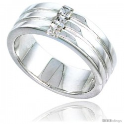 Gent's Perfect Quality Sterling Silver Brilliant Cut Cubic Zirconia Ring -Style Rcz540