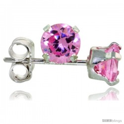 Sterling Silver Brilliant Cut Cubic Zirconia Stud Earrings 4 mm Pink Zircon Color 1/2 cttw