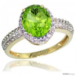 14k Yellow Gold Diamond Peridot Ring Oval Stone 9x7 mm 1.76 ct 1/2 in wide