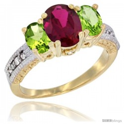 14k Yellow Gold Ladies Oval Natural Ruby 3-Stone Ring with Peridot Sides Diamond Accent