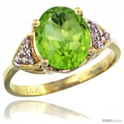 14k Yellow Gold Diamond Peridot Ring 2.40 ct Oval 10x8 Stone 3/8 in wide