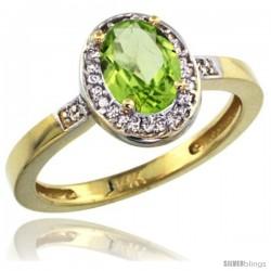 14k Yellow Gold Diamond Peridot Ring 1 ct 7x5 Stone 1/2 in wide